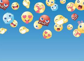 cartoon emoticons for social media chat comment reactions vector