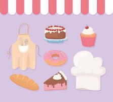 bakery shop icons donut cake cupcake donut hat and apron vector