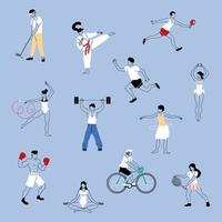 group of people in sports activities vector