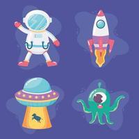 spaceship astronaut spaceship alein and ufo space galaxy astronomy cartoon vector