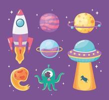 nave espacial planeta ovni asteroide y extraterrestre espacio galaxia astronomía dibujos animados vector