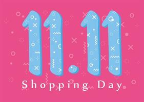 11 11 shopping day, special offer flyer, memphis numbers background vector