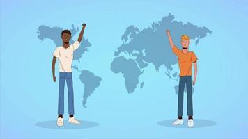 vídeo de animação ilustrado loopable anti-racismo, mãos em protesto e sinais de protesto video