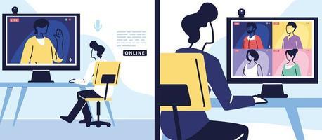man using computer for virtual meeting, banner vector