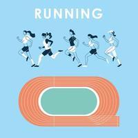 avatares de mujeres corriendo y pista de diseño vectorial vector