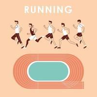 avatares de hombres corriendo y pista de diseño vectorial vector