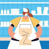 woman waitress with face mask , safety and prevention vector