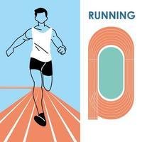 avatar de hombre corriendo y pista de diseño vectorial vector