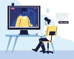 man using computer for virtual meeting, videoconference, remote work, technology vector