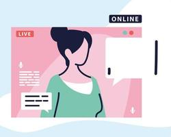 woman on the computer screen in a live broadcast vector