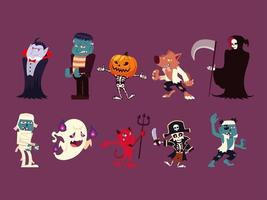 set of funny characters for hallowwen vector