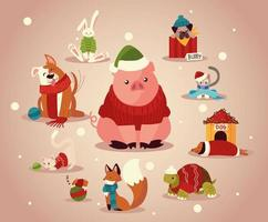 christmas cute animals with winter clothes vector