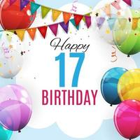 Cute Template 17 Years Anniversary. Group of Colour Glossy Helium Balloons Background. Vector Illustration