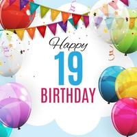 Cute Template 19 Years Anniversary. Group of Colour Glossy Helium Balloons Background. Vector Illustration