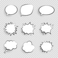 Retro empty comic  pop art speech bubbles set in Vintage design  with black halftone shadows. Vector Illustration