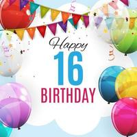 Cute Template 16 Years Anniversary. Group of Colour Glossy Helium Balloons Background. Vector Illustration