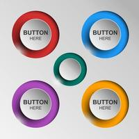 Button Icons flat color shadow vector