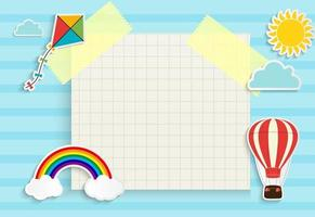 Child Good Night background with cloud, star and moon. Place for text. Vector Illustration