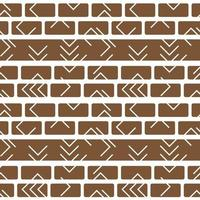 Tribal vector brown white monochrome abstract geometric seamless border pattern. Illustration contains lines, rectangles like bricks wall. Horizontal winter print stripes for textiles or wallpaper
