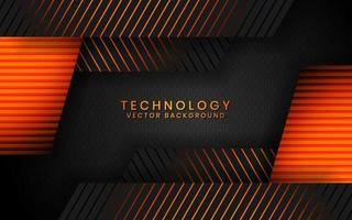 Abstract 3D black technology background overlap layers on dark space with orange light effect decoration. Modern graphic design template elements for poster, flyer, brochure, or banner vector