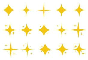 Yellow set of original bright stars sparkle icon. Glowing light effect stars collection. Vector Illustration