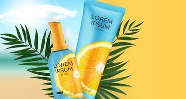 Botella de crema de protectores solares de vitamina c realista 3d. plantilla de diseño de producto cosmético de moda. ilustración vectorial vector