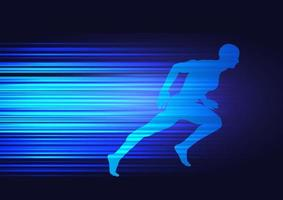 motion background with silhouette of male sprinting vector