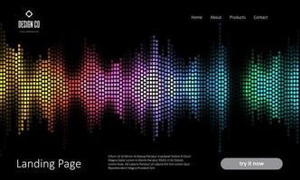 Plantilla de página de destino abstracta con diseño de ondas de sonido vector