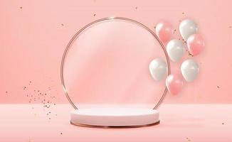 Realistic 3D Rose gold pedestal over pink pastel natural background with party balloons. Trendy empty podium display for cosmetic product presentation, fashion magazine. Copy space vector illustration EPS10