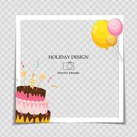 Party Holiday Photo Frame Template for post in Social Network. Vector Illustration EPS10