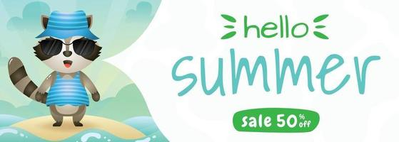 summer sale banner with a cute raccoon using summer costume vector