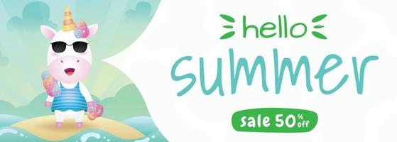 summer sale banner with a cute unicorn using summer costume vector