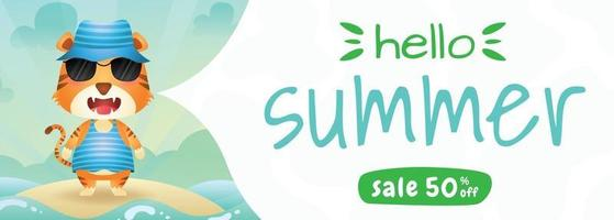 summer sale banner with a cute tiger using summer costume vector