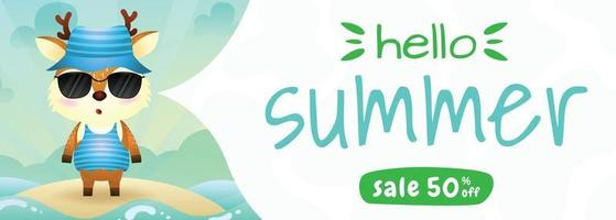 summer sale banner with a cute deer using summer costume vector