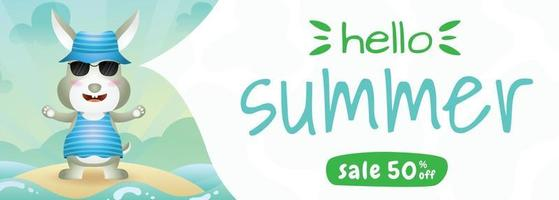 summer sale banner with a cute rabbit using summer costume vector