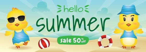 summer sale banner with a cute chick in beach vector