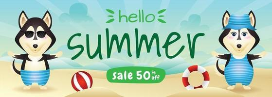 summer sale banner with a cute husky dog in beach vector