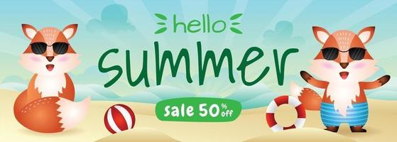 summer sale banner with a cute fox in beach vector