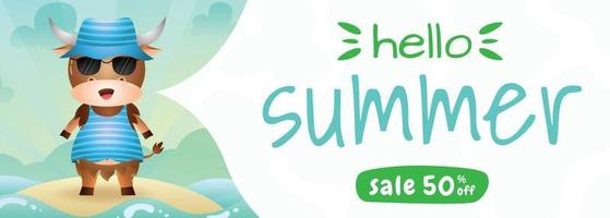 summer sale banner with a cute buffalo using summer costume vector