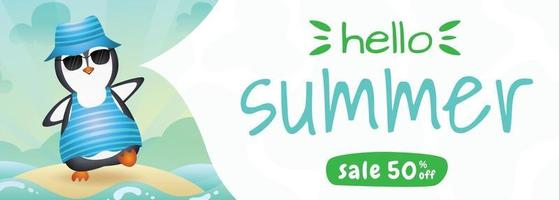 summer sale banner with a cute penguin using summer costume vector
