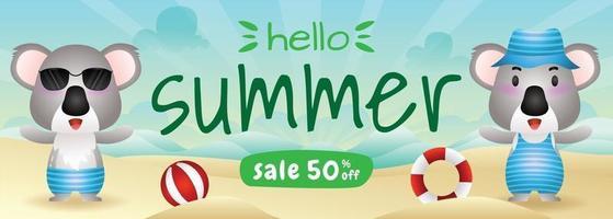 summer sale banner with a cute koala in beach vector
