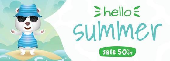 summer sale banner with a cute polar bear using summer costume vector
