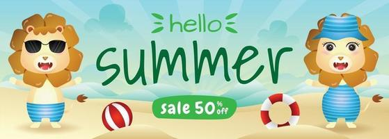 summer sale banner with a cute lion in beach vector