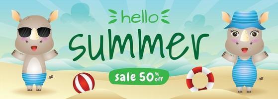 summer sale banner with a cute rhino in beach vector