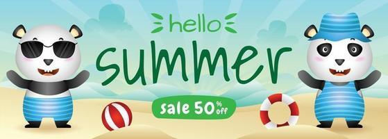 summer sale banner with a cute panda in beach vector