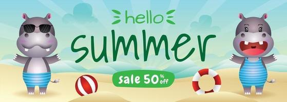 summer sale banner with a cute hippo in beach vector