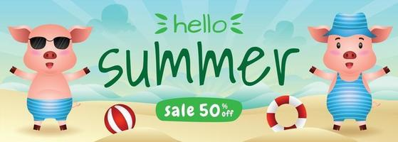 summer sale banner with a cute pig in beach vector