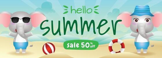 summer sale banner with a cute elephant in beach vector