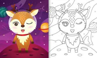 coloring book for kids with a cute deer in the space galaxy vector