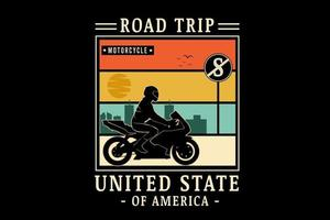 road trip motorcycle united state of america color orange cream and green vector